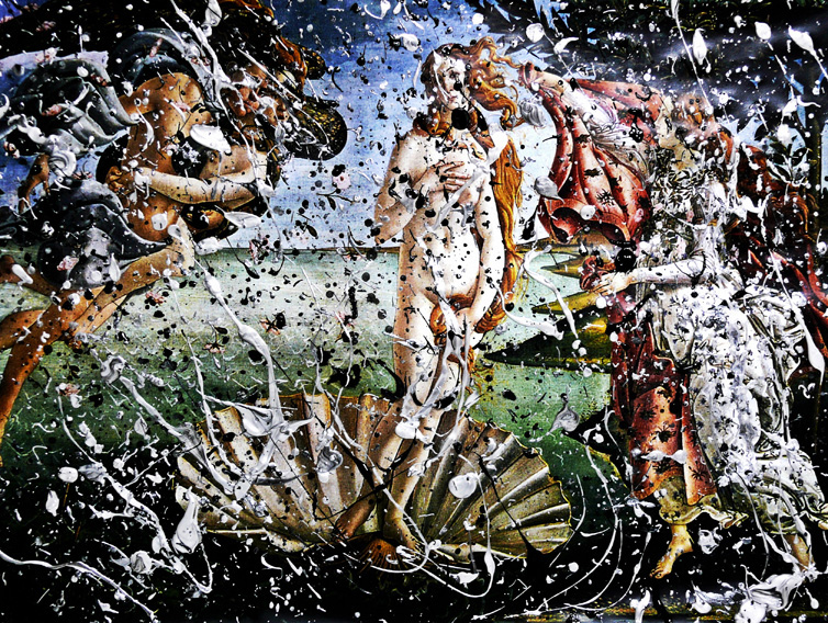 404_kenta_matsui_art_the_birth_of_catharsis_untitled_2012_acrylic_on_the_birth_of_venus_30x42